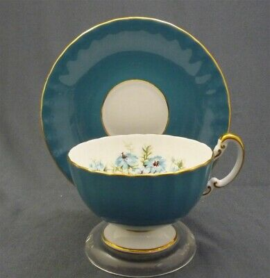 Fancy Pedestal Aynsley England Hand Painted Blue Flowers Tea Cup & Saucer Duo