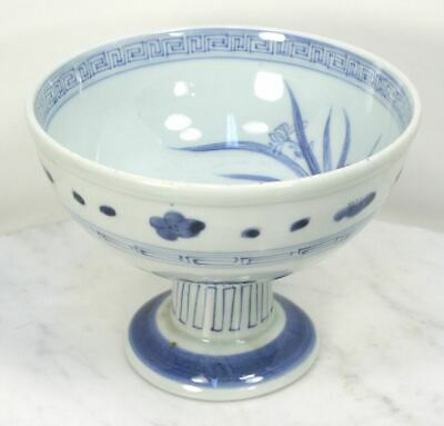 Antique Chinese Blue and White Pedestal Bowl Porcelain. Masterfully Hand Painted