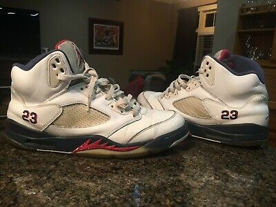 newest collection 94c73 41aac Nike Air Jordan Retro V 5 Independence Day Olympic White Blue Red SZ 11.5  Shoes