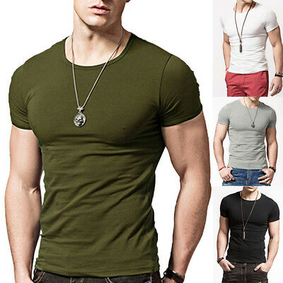 1882405f82fd Men Slim Fit Short Sleeve O Neck Gym Muscle Casual T-shirt Tops Blouse  Summer