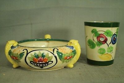 vintage old Japanese pottery decorative 3 fish dish bowl glass cup flower pot