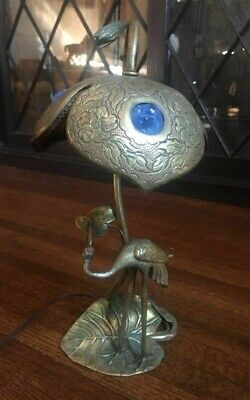 Austrian Japanese Art Nouveau cold painted bronze crane & lily pad lamp 1900