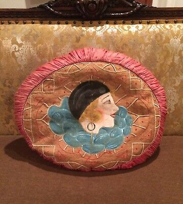 Antique/Vintage Hand Made Oval Hand-Painted Pillow Satin Canvas Flapper 1920s