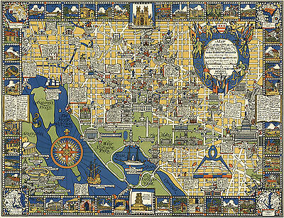 1926 Pictorial Map Washington D.C. Architecture History Vintage Wall Art Poster