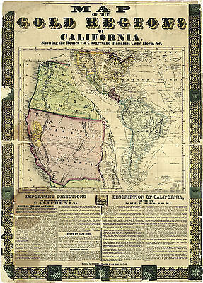 1848 Map of the Gold regions of California Mining Wall Poster Vintage History