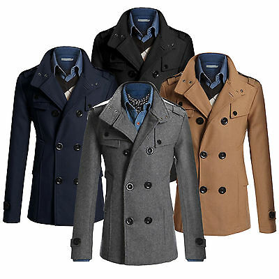 7f5ee2df Mens Pea Coat Warm Wool Blend Double Breasted Dress Jacket Peacoat Outwear M -3XL
