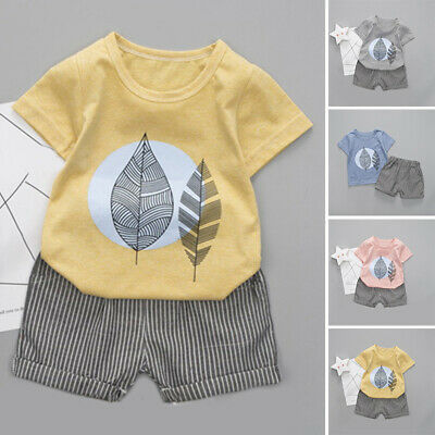 Infant Baby Boys Kids Summer Clothes Printed T-shirt Tops + Shorts Outfits 2019