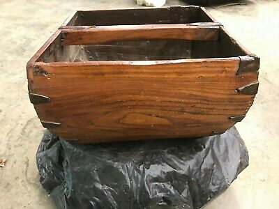Antique CHINESE WOOD & METAL Rice CARRIER BASKET Handmade Late 19th Century