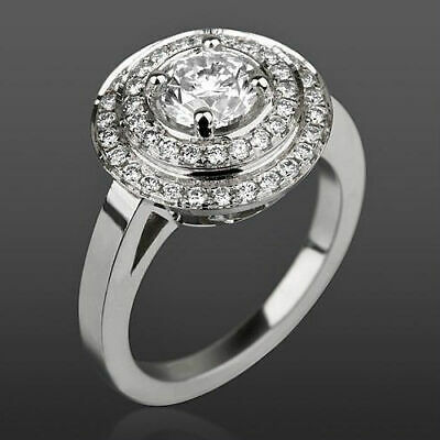 Natural 4 Prong 2.45 Ct Diamond Ring Anniversary Lady Si1 D 14K White Gold