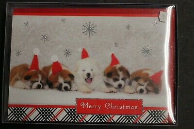 Merry Christmas Puppies.Hallmark Merry Christmas Puppies Snow Holiday Greeting Cards