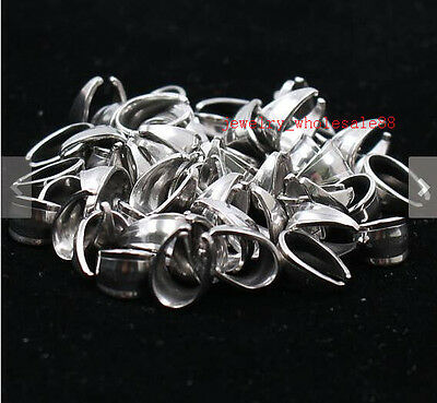 Lot 50pcs Stainless Steel Pendant Pinch Clip Clasp Bail Connector embossing DIY