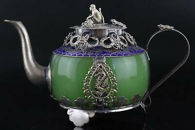 Collect Antique Tibet Silver Cloisonne Inlay Agate Carve Delicate Noble Teapot