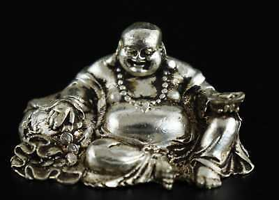 Collect Tibet Silver Carve Smile Buddha Hand Hold Wealth Moral Bring Luck Statue