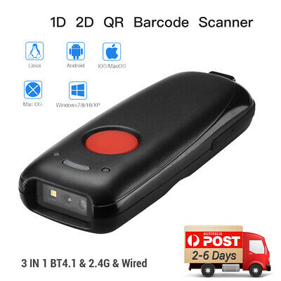 Portable Bluetooth4.1 & 2.4G 2D Wireless Barcode Scanner for IOS Tablet Windows