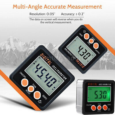 Mini Digital Inclinometer LCD Protractor Bevel Box Angle Gauge Magnet Base 0-360