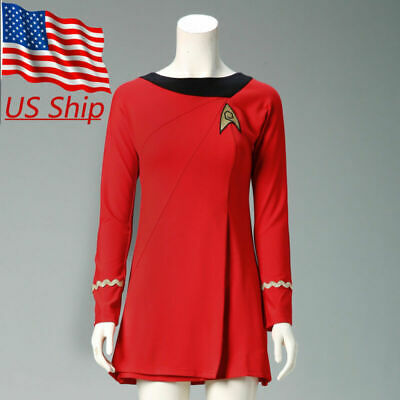 d511e5e48418 Cosplay Classic Star Trek Female Duty TOS Red Uniform Dress Costume Suit  Adult