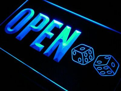 j808-b OPEN Dice Casino Game Room Bar Neon Light Sign