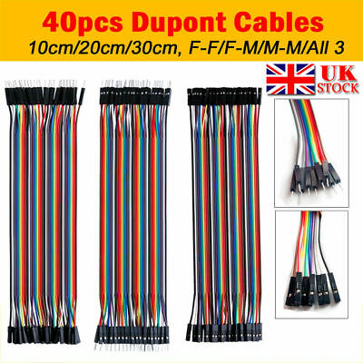 40 Pin 2.54mm Dupont Wire Line Ribbon Jumper Cables Breadboard Arduino 10/20 CM
