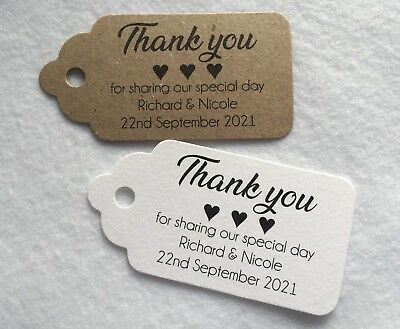 Personalised Wedding 'Thank You for sharing our' Tags Favour Gift Cards Label