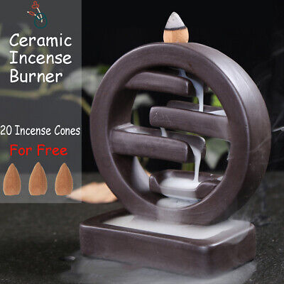 Ring Back Ceramic Backflow Incense Burner Smoke Cones Holder Sticks Censer Clay