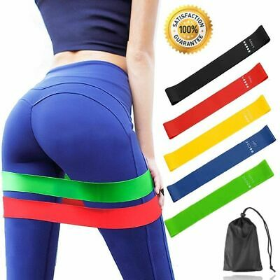 Crossfit 5PCS Of Yoga Exercise Pilates Resistance Loop Workout Set Fitness Bands