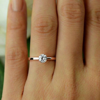 Diamond 4-Prong Solitaire Engagement Ring 14k Yellow Gold Over 0.50ct Round Cut