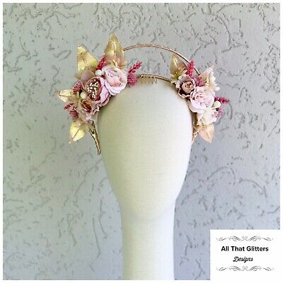 Ladies Rose Gold & Pink Tones Floral Headband Fascinator Halo Races