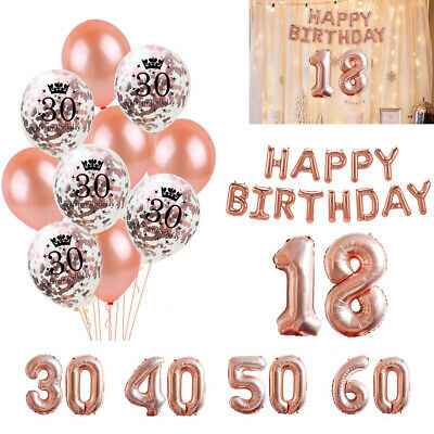 18ST 21 30 40 50 60 ROSE GOLD Latex Number Happy Birthday Balloons Party Curtain