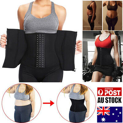 Steel Boned Waist Trainer Corset Zipper Workout Fat Burner Body Shaper Girdles