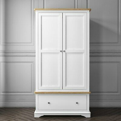 New Modern Darley Two Tone Wardrobe in Solid Oak and White Furniture Unit