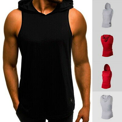 Mens Sleeveless Vest Tank Tops Hooded T-Shirts Casual Fitness Muscle Basic Tee