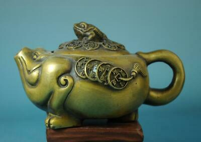 chinese old hand carving copper toad and copper coins statue teapot d02