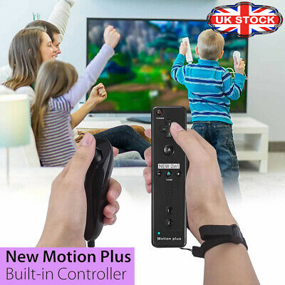 Wii Built In Motion Plus Remote Controller And Nunchuck + Silicon + Hand Strip