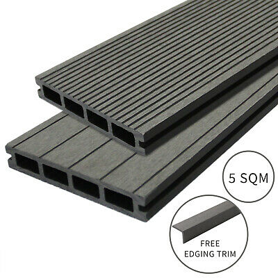 Composite Decking Boards Edging Wood Plastic Fixings Pack  / 5 SQM Castle Grey