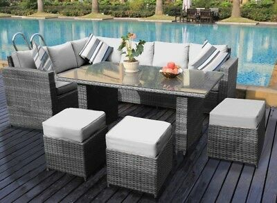 Conservatory Barcelona range Rattan garden furniture set 9 seater dining set