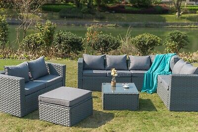 9 Seater Rattan Corner Garden Furniture Set Sofa Table Stool Patio Conservatory