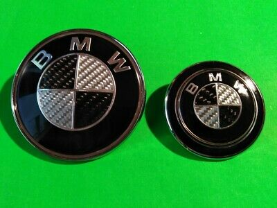2pc BLACK & SILVER CARBON BADGE SET BMW e36/46 CONVERTIBLE - 82+60mm