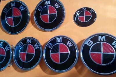 7 PIECE RED & BLACK REAL CARBON BADGE SET FOR BMW - UV RESIN 82+74+45+(4X68)mm