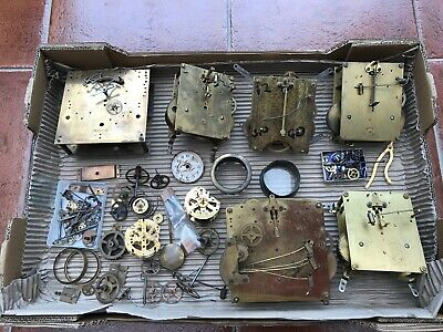 clock movements parts spares job lot vintage chiming brass old steampunk cogs
