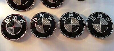 7 PIECE BLACK SILVER REAL CARBON BADGE SET FOR BMW - UV RESIN 82+82+45+(4X68)mm