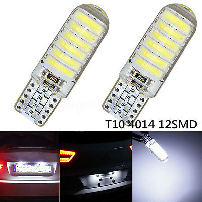2x T10 194 168 W5W 12-SMD 4014 LED Silice License Plate Ampoule Lampe Blanc 12V