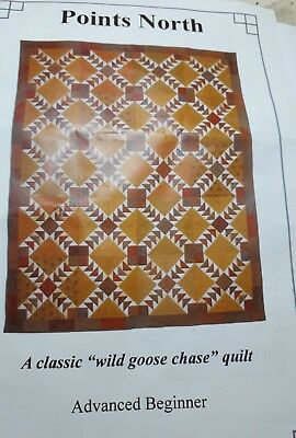 Points North Flying Geese Lap Quilt Kit Yellow Brown Orange Cream