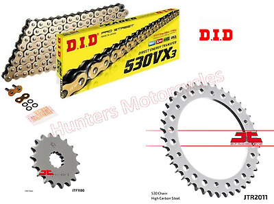 Triumph 955i Sprint ST 1999 to 2004 DID Gold X-Ring Chain & JT Sprockets Kit Set