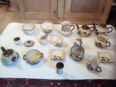 18 pieces of assorted used Torquay Pottery Devon Motto Ware