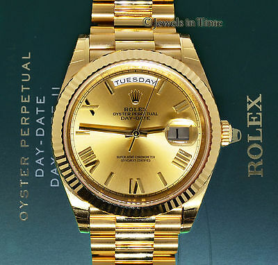 Rolex Day Date President 40mm 18k Yellow Gold Watch Boxpapers 228238 Brand New
