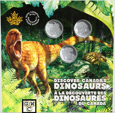 2019 'Dinosaurs of Canada' 3-Coin Set of 25-Cent Coins (18690)