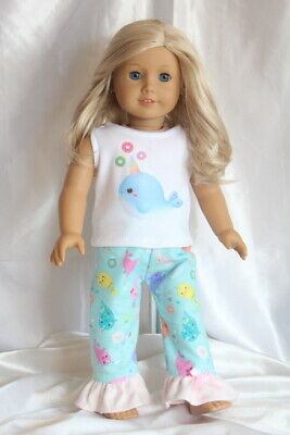Doll Clothes fits 18inch American Girl Dress Pajamas Hearts Narwhal Unicorn