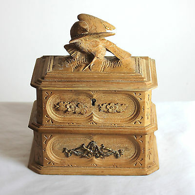 Antique Black Forest wood two tiered jewelry box, casket, 1900-1940
