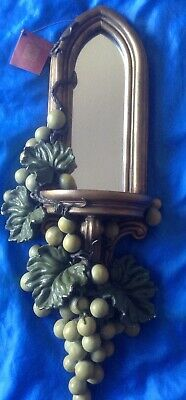 Hand Sculptured Votive Candle holder Leaves & Grapes Sconce By Nick Read