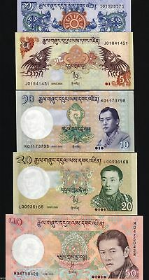 Bhutan Set 1 5 10 20 50 P27 28 29 30 31 2006 2007 2008 King Dragon Unc X 5 Note